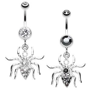 Venom Spider Clear Black Belly Ring Navel Dangle CZ Body Jewelry Gothic Sexy Fun