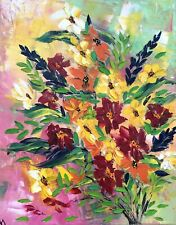"""OIL PAINTING """" flowers """" Art  Canvas Stretch 20"""" X 16 by Angela"""