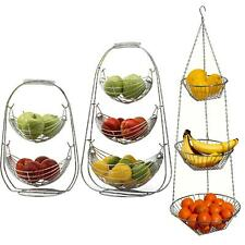 2/3 Tier Chrome Swinging Hanging Fruit Hammock Bowl Basket Rack Kitchen Storage