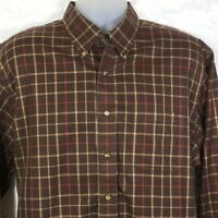Brooks Brothers Men's Large Non Iron Shirt Long Sleeve Plaid Brown Button Down