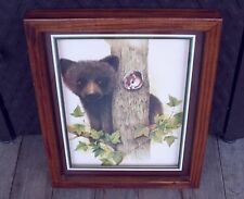 Home Interior Wood Framed Shadow Box Look Baby Cub in Tree Scene Picture