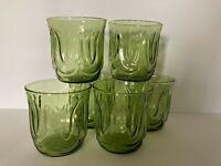 Vtg Anchor Hocking Green Colonial Tulip 8oz Juice Glasses Set of 6