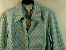 Ann Taylor Loft Size 12 Blouse Blue White Black Long Sleeve NWT