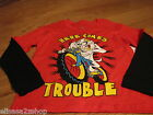 Boy's M Looney Tunes Tazmania Taz Devil long sleeve Here comes trouble T shirt