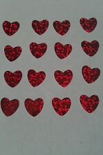 25 red hologram heart Hotfix iron on transfers 12mm x 12mm