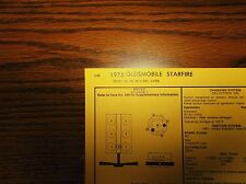 1975 Oldsmobile Starfire Models 231 CI V6 SUN Tune Up Chart Great Shape!