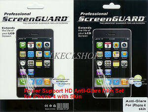Anti-Glare PROFESSIONAL SCREEN PROTECTOR Film & Skin Set for iPhone 4 BRAND NEW