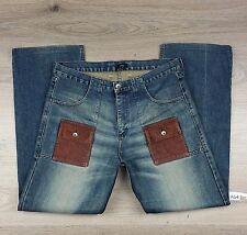 MARCS Sydney Mens Denim Jeans brown corduroy front pockets Size 33 W34 L31 (A64)
