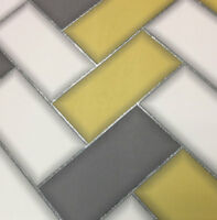 3D Chevron Tile Wallpaper Geometric Glitter Sparkle Yellow Grey Holden Decor