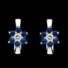 0.42tcw Created Sapphire Diamond Huggie Earrings 14K White Gold Flower Cluster
