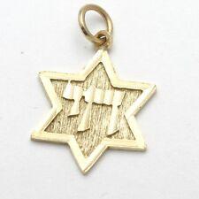 Vintage 14k Jewish Star of David Pendant yellow gold Chai Diamond Cut Small
