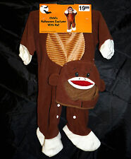 Sock Monkey costume with hat - brown - infant size - HALLOWEEN - NIP