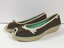 Keds Women Peep Toe Canvas Wedge Brown Sunbathe Size 7M