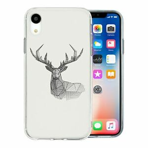 For Apple iPhone XR Silicone Case Geometric Deer - S177