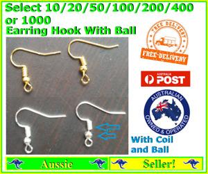 10/20/50/100/200/1000 Hypoallergenic Earring Hook Hooks Ball Post Backs Finding