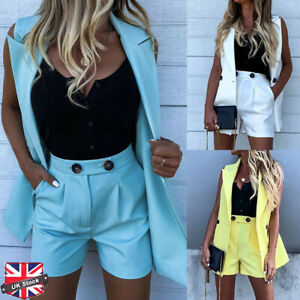 Womens Sleeveless Blazer Suit Waistcoat Vest Shorts Hot Pants 2PCS Co-ord Set