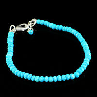 38.50 Cts Natural Faceted Turquoise Round Beads Bracelet - Lowest Price (RS)