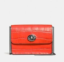 NWT COACH 57717 Bowery Crossbody Shoulder Bag Embossed Croc Leather Deep Coral