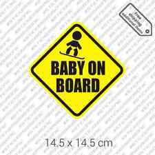 Baby on snowboard board car bumper winter sticker vinyl - Yellow