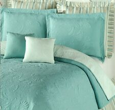 AQUA BLUE SHELL ** King ** QUILT SET : GREEN COTTON MATELASSE BEACH SHELLS
