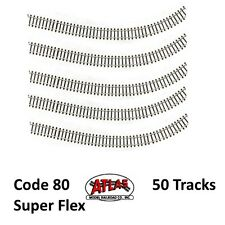 Atlas 2500 N Code 80 Super-Flex Track Black Ties / Nickel Silver Rail (50 Pcs)