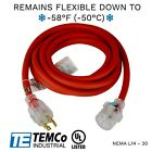 TEMCo 15ft Cold Weather Generator Cord Red NEMA L14-30 125/250V 30A UL