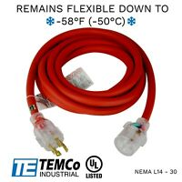TEMCo 15ft Cold Weather Generator Cord Red NEMA L14-30 125/250V 30A UL