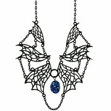 Restyle Elvish Wings Matte Black Druzy Crystal Occult Witch Necklace