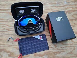 100% Racetrap Matte White Cycling Sunglasses - HiPER Blue Mirror Lens