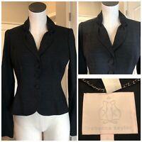 Vintage Rebecca Taylor Blazer Size 6 Dark Gray Jacket 3 Button Sample Lapel