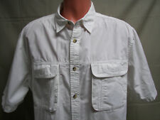 Hook & Tackle Mens Shirt Size Large Short Sleeve White Button Front