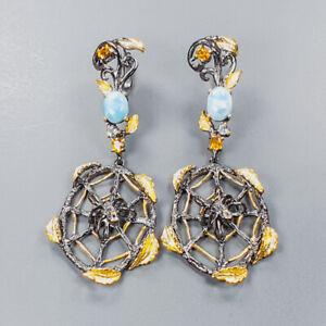 Fashion Art jewelry Larimar Earrings Silver 925 Sterling   /E46012
