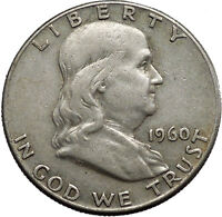 1960 Benjamin Franklin Silver Half Dollar United States Coin Liberty Bell i44587