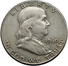 1960 Benjamin Franklin Silver Half Dollar United States Coin Liberty Bell i44587