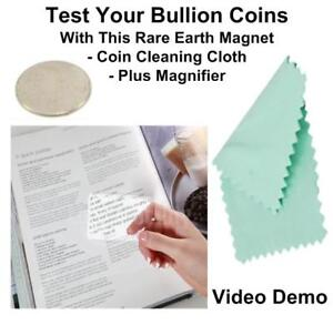 Silver Britannia Testing Magnet Test For Real Silver Coin + Coin Cleaning Cloth