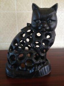 Black Cat Garden Statue Home Garden Ornament Cast Iron Hanging Lantern Tea light