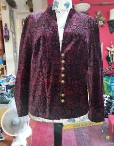 Gorgeous Red Black Velvet Jacket Size 18 Goth Victorian Steampunk Evening...