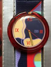 Uhr Original SWATCH Pop ART DECO (PWR107)-NEU/NEW/NOS-groß! blau/rot! Kunst!