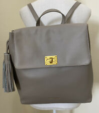 JOY & IMAN Tassel Chic Gray Leather Backpack  Handbag RFID Multi-Pockets NWOT