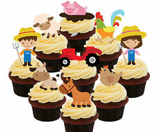 Farm Animals - 36 Edible Cupcake Toppers, Standup Cake Decorations Kids Birthday