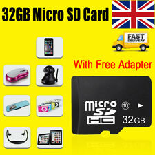 32GB Micro SD Card Class 10 SDHC memory Card + Free Adapte For Phones Camera UK