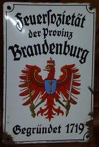 orig.Emailschild Feuersozietät Brandenburg um 1925,gewölbt,