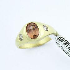 NYJEWEL 14k Gold New Brown Orange Garnet 0.35ct Diamond Ring Great Gift