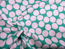 Bullet Printed Liverpool Textured Fabric Stretch Mint Big White Polka Dot N32