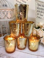 Conjunto de 6 sostenedores de luz de té de oro de vidrio de mercurio Vela Votivo Decoración De Navidad