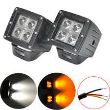 """2x 24W 3"""" Amber & White Dual Color Switched LED Work Light Spot Square Cube Pods"""