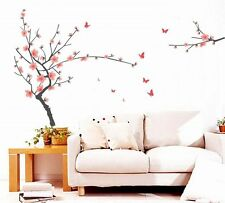 Pink Peach Blossom Branches Tree Butterfly Vinyl Removable Wall Decor Sticker