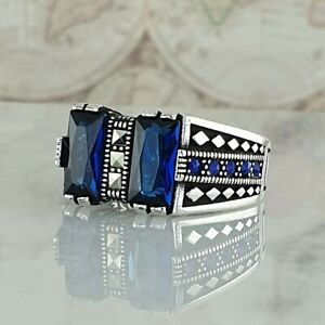 Solid 925 Sterling Silver Sapphire & Marcasite Gemstone Handmade Ottoman Style