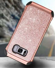 Samsung Galaxy S8 Case Glitter Sparkly Bling Hybrid Cover Shockproof Bumper Pink