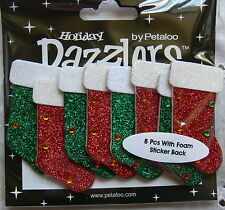 9 STOCKINGS - RED WHITE & GREEN Sparkle 30x57mm CHRISTMAS Sticker Petaloo L6
